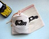 Mini Love Muslin Drawstring Bag