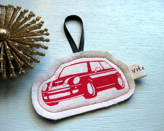 MINI Cooper Fabric Ornament in Red - Reserved for Tori