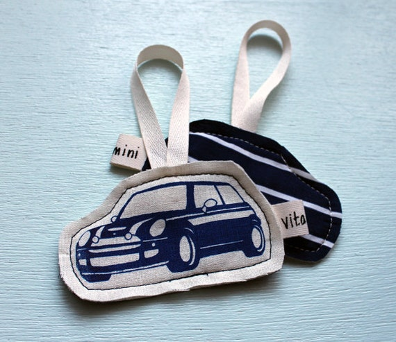 MINI Cooper Fabric Ornament in Navy and Stripes.