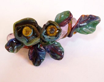 Marbella - Handsculpted Lampwork Corsage with Two Flowers