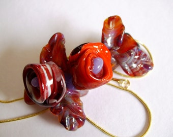 Rachael - Lampwork Focal Bead - Curved Flower Corsage w Old World Charm