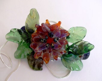 Takara - Handsculpted Lampwork Corsage, comes with Chain