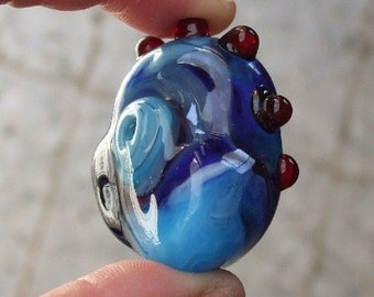Huge Lampwork Chicken Bead - Hollow Freeform Focal Bead in Blue
