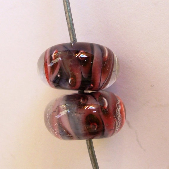 Purple Lampwork Focal Beads - Beautiful Purple Clowns - Pair