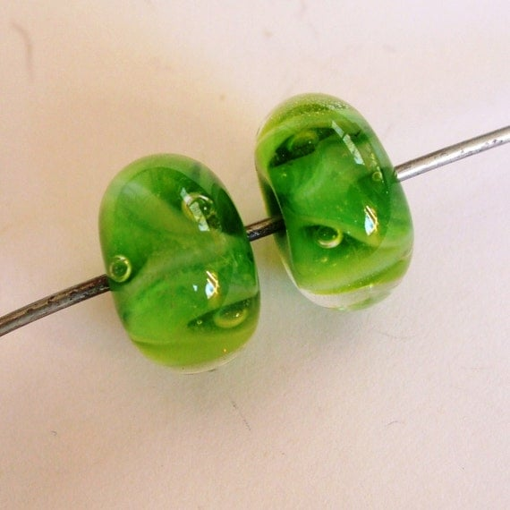 Delightful Lampwork Beads - Bright Lime Clown Focals - Pair