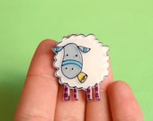 White Sheep Brooch or Necklace
