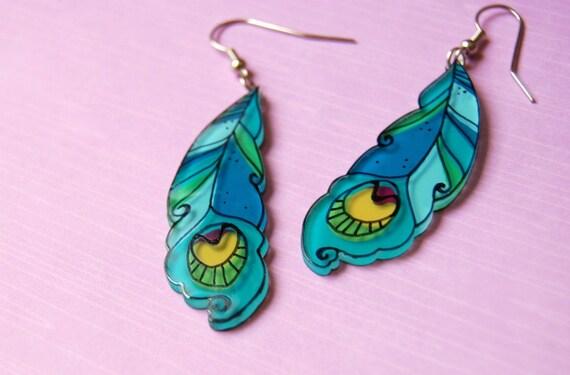peacock feathers dangle earrings