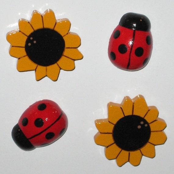 Ladybug and Sunflower Refrigerator Magnets