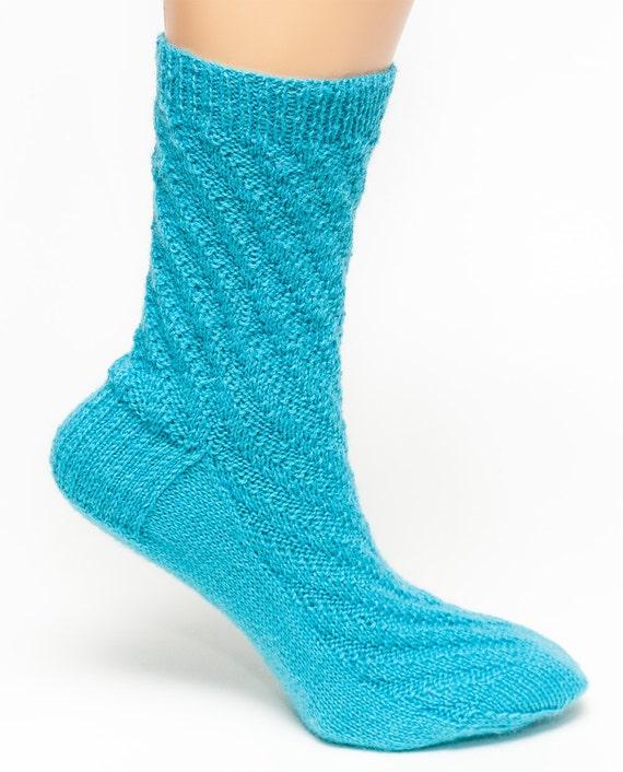 Hand Knit Socks, Merino Wool, Blue
