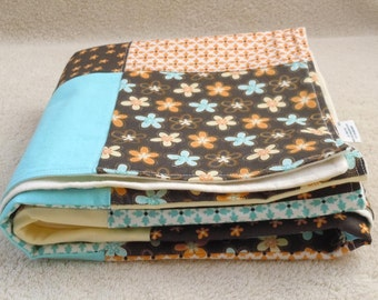 SALE- Bloom and Grow- Patchwork Flannel Blanket: Ready to ship, gender neutral, flannel, stroller blanket, Baby Shower gift, blue, brown