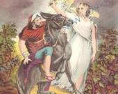 1884 Antique BALAAM And THE ANGEL Lithograph