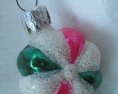 1960s Pink And Green Christmas Ornament With White Mica Made In West Germany