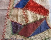 Antique Crazy Quilt Block With Lovely Hand Embroidered Stitches