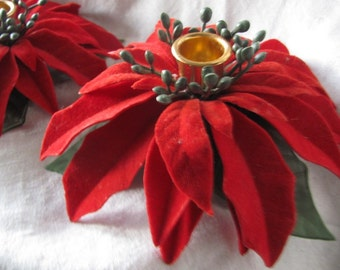Sale Vintage Red Flocked Poinsettia  Candle Holders Was 18.99 Now 13.99