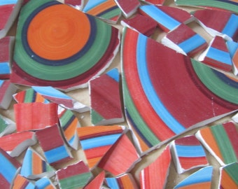 SALE Festive Lot Of 270 Striped Mosaic Tiles Tessara Orange,Blue,Green,Maroon Was 32.00 Now 24.99