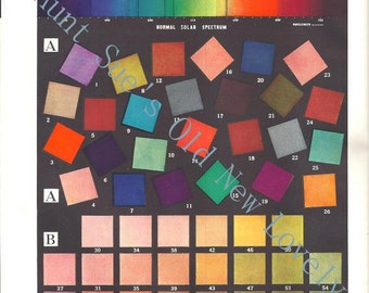 Vintage 1940's Spectrum Color Charts Illustrations For Framing, Artist, Art Teacher