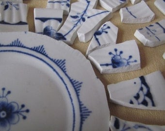 SALE Vintage Blue And White Mosaic Tiles Tessara LOT of 56 Was 14.50 Now 11.99