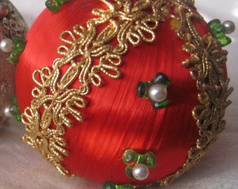 SALE Vintage 1960's Red Satin Handmade Christmas Ornament With Gold Trim And Pearls Was 6.99 Now 5.00