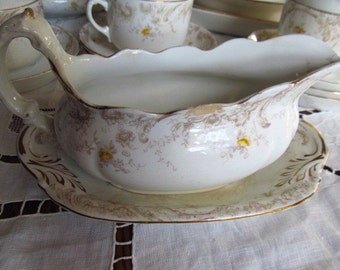 SALE Antique Victorian Shabby Yellow Roses Gravy Boat And Saucer Transferware, FOR DISPLAY Henry Alcock Co.  Was 18.99 Now 14.99