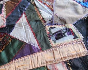 Antique Victorian Velvet Hand Embroidered Crazy Quilt Block, 100 Yr. Old