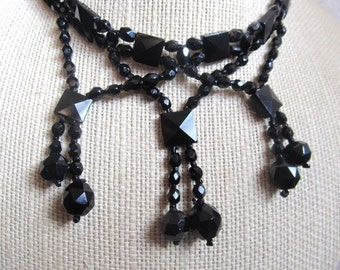 SALE Antique 1800's Victorian French Jet Black Glass Collar Necklace Was 395.00 Now 374.99