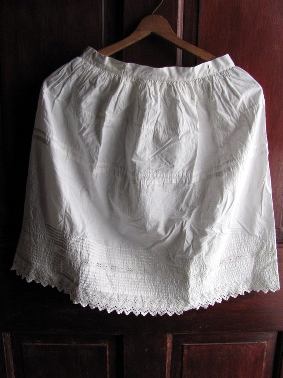 SALE Antique, 1800's Very Old Girl's Women's White Lace,Pleated Petticoat, Civil War Reenactment Was 65.00 Now 39.99