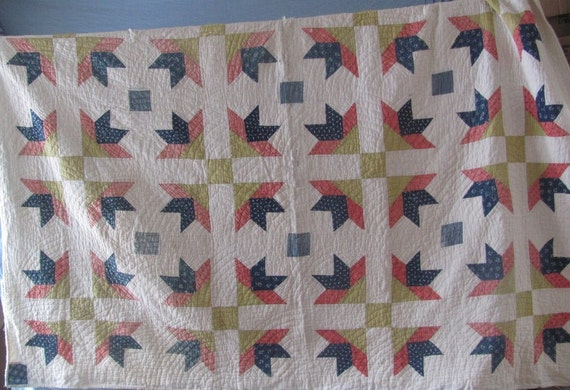 SALE 1860's CIVIL WAR Era Handmade Quilt ...bm...Was 400.00 Now 359.99