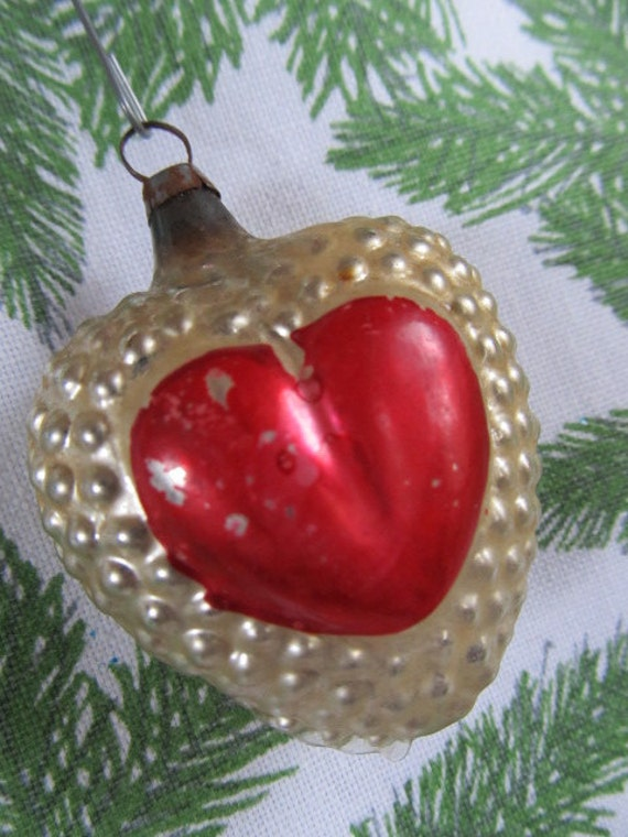 VINTAGE HANDBLOWN Red And Silver Mercury Glass CHRISTMAS Heart Ornament...hjw