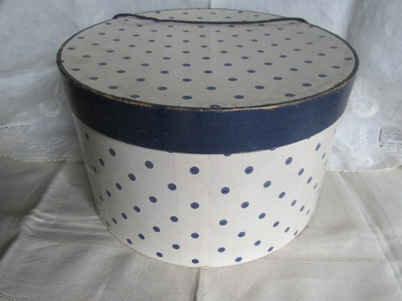 RESERVED For fallinginswirls Vintage Edwards Polka Dot Hat Box Rochester NY ...js