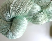 SPECIAL Swooping Hand Dyed 100 percent  SILK LACE weight 1000 yds Pale Mint Aqua