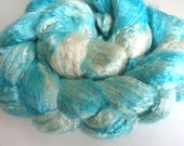 SPECIAL Pictures in the Sky Hand Dyed 100 percent pure SILK TOP spinning fiber 71 grams Aqua Cloud White