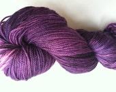 Velvet Cloak SNOWBOOT SOCK  Hand Dyed Sock Fingering Weight Merino Wool Nylon Yarn Free PATTERN Royal Purple Eggplant