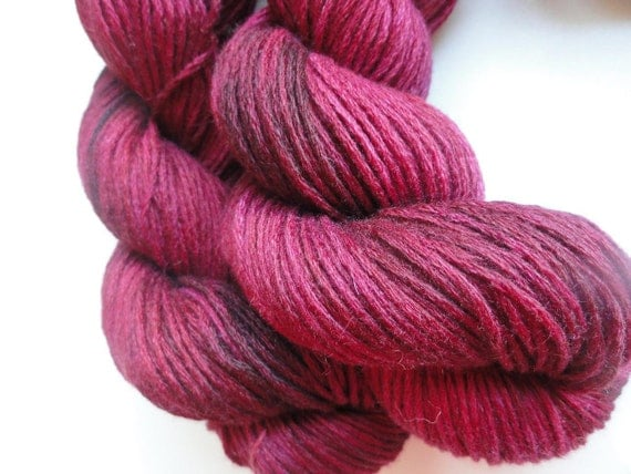 Puissant 100 PERCENT CASHMERE Luxury DK Worsted Yarn Free Pattern 120 yds Deep Red Burgundy