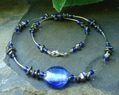 Blue foil and hematite necklace