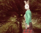 Rabbit Mask Photograph, Bunny Mask Self Portrait, Surreal Photo, Fairytale Art, Mask Photo, Dreamy Photography