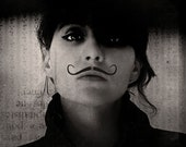 Black and White Photography, Mustache Portrait, Androgynous, Fine Art Print, Circus, Dark Art, Steampunk, Amelie, Halloween Decor, Square