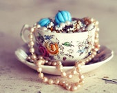 Still Life Photograph, Cup of Jewels, Tea Cup Photo, Shabby Chic, Teacup, Jewelry Photo, Bedroom Decor, Fine Art Photograph