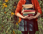 Autumn Photograph, 8x10 Print, Girl with School Books, Burnt Orange, Fall Photo, Autumn Photo, Quirky Whimsical Fine Art Photography