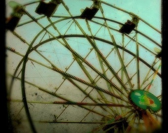 Carnival Photography, Ferris Wheel, 5x5 Print, Surreal, Carnival Photograph, Green