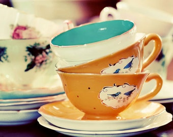 Still Life, Tea Cup Photograph, Teacup Print , Shabby Chic, Kitchen Art, Fine Art Print, Mustard Yellow, Kitchen Decor, Still Life Photo