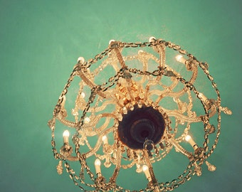 Still Life Chandelier Photograph, Once Upon a December, 5x5, Whimsical Photo, Mint Green