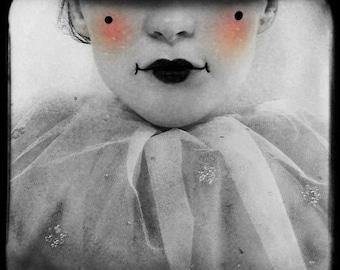 Clown Portrait, Black and White Photograph, Circus Portrait, Surreal Portrait, Grey, Fine Art Print, Modern Home Decor