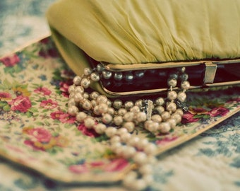 Chartreuse, Gold, Shabby Chic Photography,  My Last Affair, Fine Art Photograph, Romantic Photo, Pearls, Vintage Style