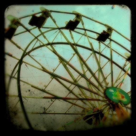 Carnival Photography, Ferris Wheel, 5x5 Print, Surreal, Carnival Photograph, Green