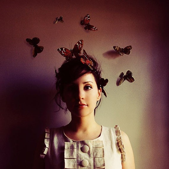 Whimsical Portrait, Butterflies, Dreamy Fine Art Print, Maroon, Wine, Burgundy, Surreal Photography, Square Wall Art