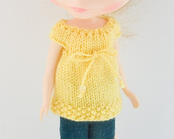Cap Sleeve Knitted Drawstring Top for Blythe, in Yellow