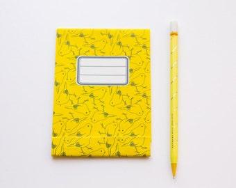 Small notepad, yellow bird pattern
