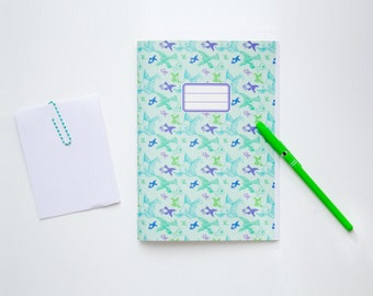 School supplies -Seagreen Notebook with a blue, green and purple Gold Fish pattern