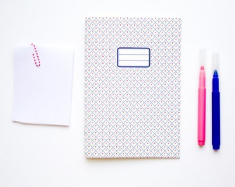 Flower Notebook  - School supplies -  Retro Navy blue and pink pattern and french retro label