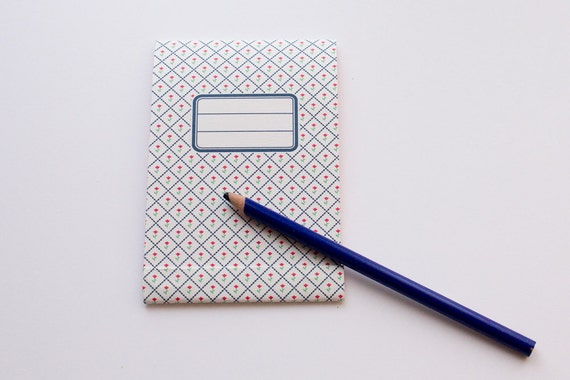 Matchbook notepad Blue and pink Retro flower pattern
